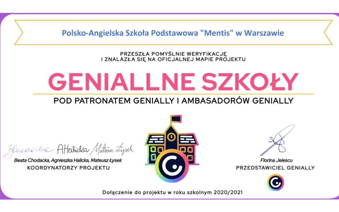 """Szkoła Mentis na oficjalnej stronie projektu """"Geniallne szkoły"""""""