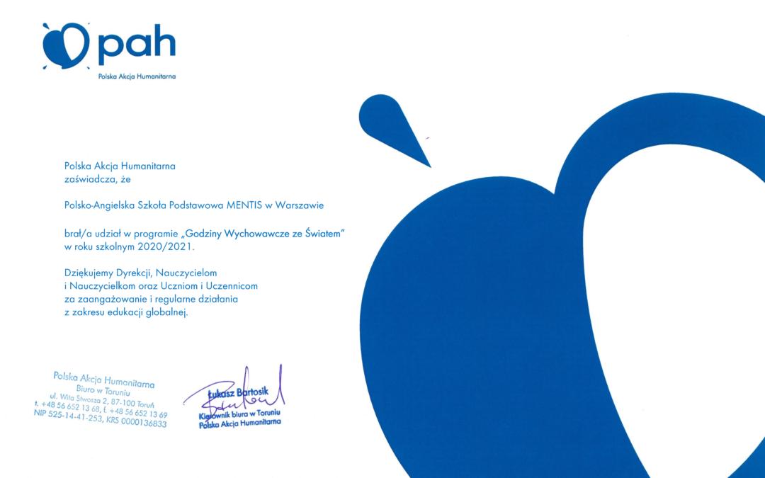 Dyplom dla Mentis od Polskiej Akcji Humanitarnej (PAH)
